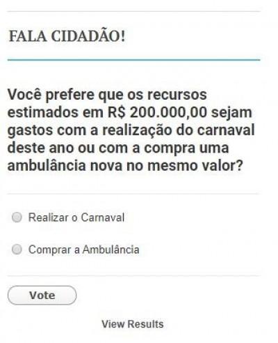Você decide: Carnaval ou ambulância? Prefeitura de MS faz enquete para gastar dinheiro público
