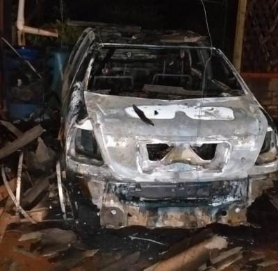 Bombeiros controlam incêndio em veículo e evita que casa pegue fogo em Caarapó