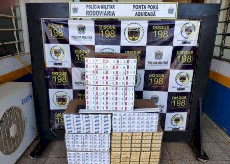 Dupla é flagrada com R$ 10 mil em cigarros contrabandeados na fronteira de MS