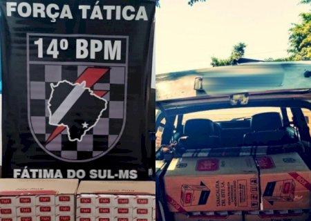 Em Deodápolis, Força Tática apreende250 pacotes de cigarros de origem estrangeira