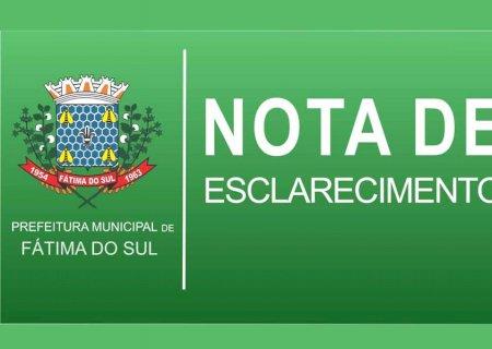 Prefeitura de Fátima do Sul divulga nota explicativa à população sobre Decreto