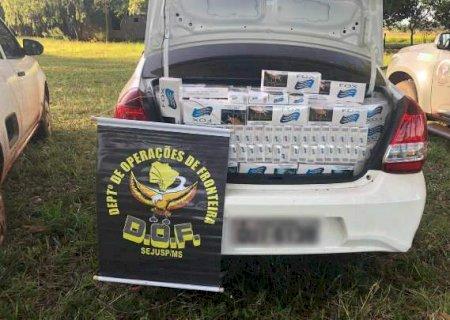 DOF apreende veículos com 5,8 mil pacotes de cigarros do Paraguai