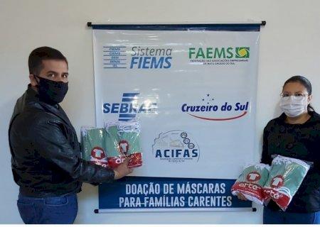 Secretaria de Assistência Social de Vicentina recebe doação de 200 máscaras da ACIFAS