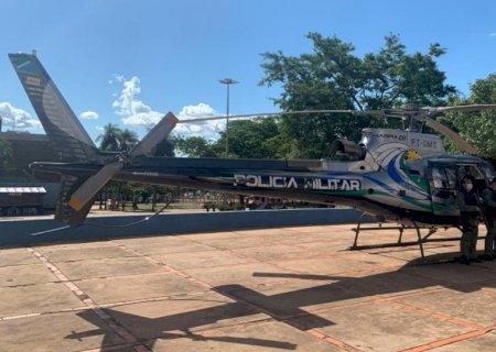 Helicóptero sobrevoa Campo Grande em operação de fim de ano da PM