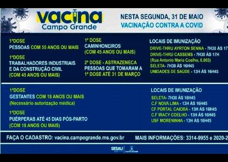 Campo Grande: Pessoas acima de 55 anos sem comorbidades podem se vacinar nesta segunda