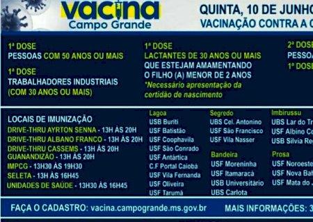 Pessoas com 50 anos podem se vacinar contra a covid-19 em Campo Grande nesta quinta
