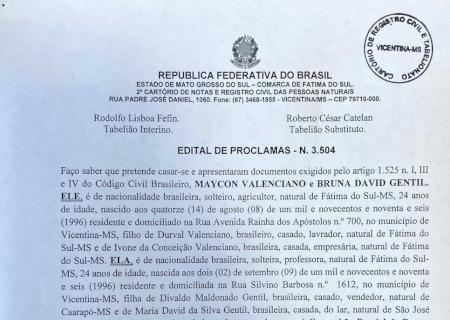 Cartório de Vicentina informa edital de proclamas