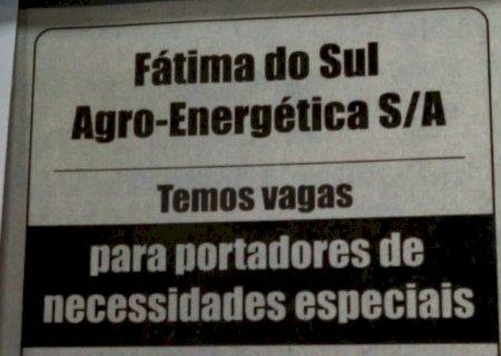 Fátima do Sul Agro-Energética contrata profissionais com necessidades especiais